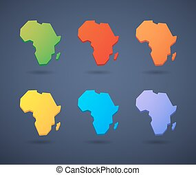 Africa continent map icon set