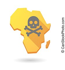 Africa continent map icon with a skull
