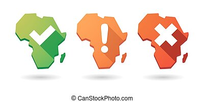 Africa continent map survey icon set