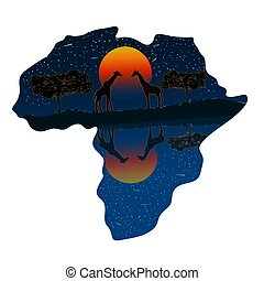 Africa continent with sunset and wild animals silhouettes isolated on white background.