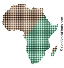 Africa Dot Map In Brown And Green