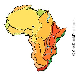 africa - Cartographical image of the surface of the African...