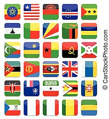 Africa Flags Flat Square Icon Set 2