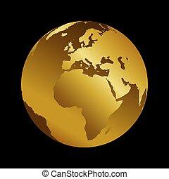 Africa golden 3d metal planet backdrop view . World map vector illustration on black background