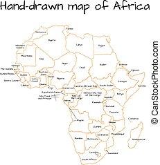 Africa hand-drawn sketch map
