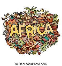 Africa hand lettering and doodles elements background....