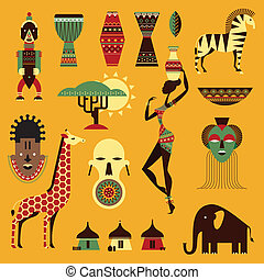 Africa icons - Vector set of stylized african icons
