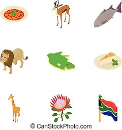 Africa icons set, isometric style