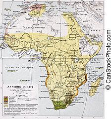 Africa in 1870 old map. By Paul Vidal de Lablache, Atlas...