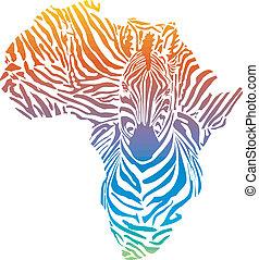 Africa in rainbow zebra camouflage
