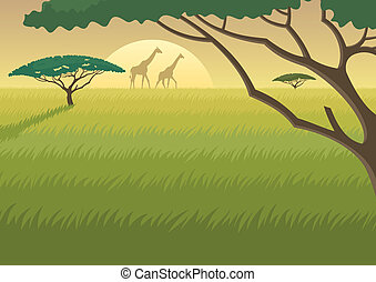 Landscape of the African Savannah at dusk/dawn. No transparency used. Basic (linear) gradients used for the sky. A4 proportions. You can extend the last grass layer downwards and use it to fit as much text as you like.