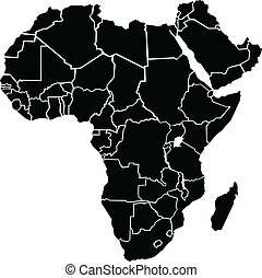 A chunky, simple map of Africa. Map source: Created in Adobe Illustrator CS3 on 4/10/2009. Layers used: outlines.