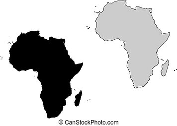 Africa map. Black and white. Mercator projection.