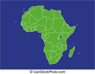 Africa Map - a basic map of africa with water in blue and...