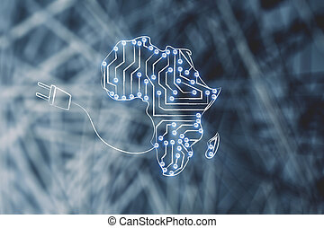 africa map made of electronic microchip circuits & plug