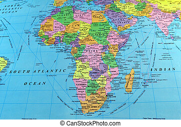 Map of Africa, includes part of Europe and South West Asia