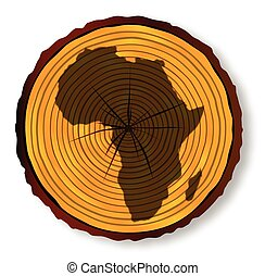 Map of Africa on a timber end section over a white background