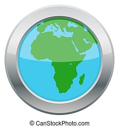 Africa Map Silver Icon