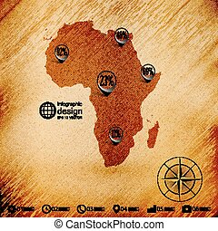 Africa map, wooden design background, infographics vector illustration