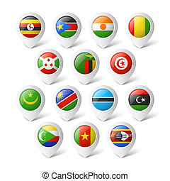 africa., mappa, flags., puntatori