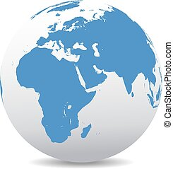 Africa, Middle East, Arabia, India - Icon of the World Globe