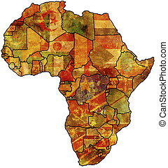 africa old map - some very old grunge map with flags of...