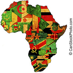 africa old map - some very old grunge map with flags of ...