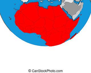 Africa on 3D globe