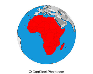 Africa on 3D globe isolated
