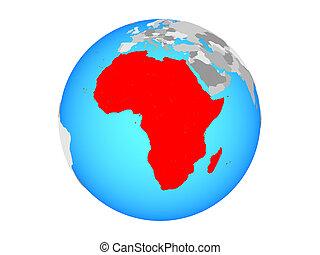 Africa on globe isolated