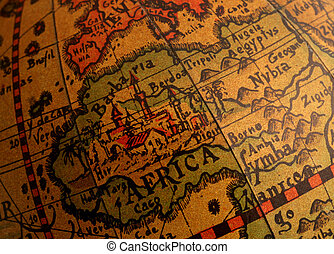 Africa On Old Globe - old brown globe with many different ...