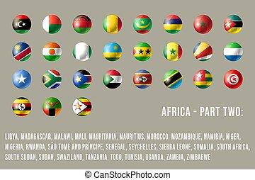 africa, parte, 2, bandiere, rotondo