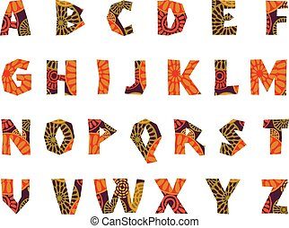 Africa - patterned alphabet - Africa - patterned tribal...