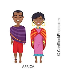 Africa People and Customs on Vector Illustration