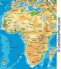 Highly detailed physical map of Africa, in vector format, with all the relief forms, countries and big cities.