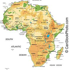 Africa-physical map - Highly detailed physical map of Africa...