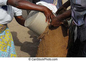 Africa - woman African fills up a bag