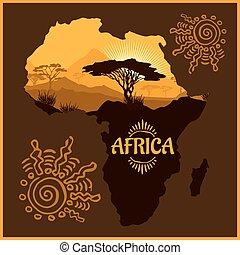 Africa - poster. - African landscape - illustration emblem...