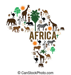 africa, punto di riferimento, mappa, silhouette, icone