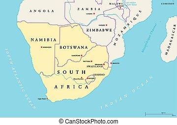 africa region, sydlig, politisk, karta