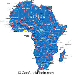 Africa road map - Highly detailed vector map of Africa with...