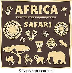 Africa, Safari icon and element set