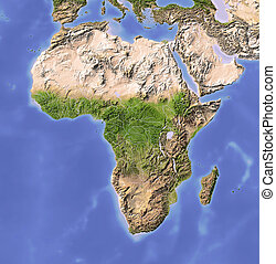 Africa. Shaded relief map. Colored according to vegetation.