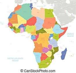 Africa single states political map. Each country with its...