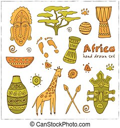 Africa sketch icons set