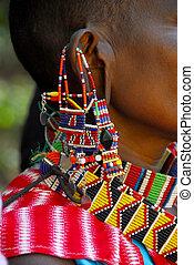 africa -  Masai woman with jewelry