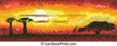 Africa sunset - Abstract illustration of the Africa sunset