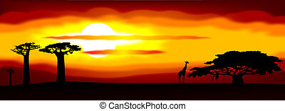 Africa sunset - Abstract illustration of the sunset in...