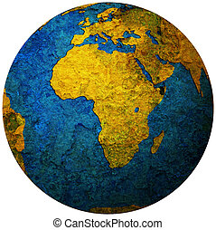 africa territory on globe map