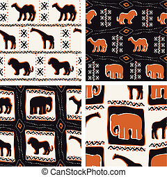 Africa-themed seamless patterns